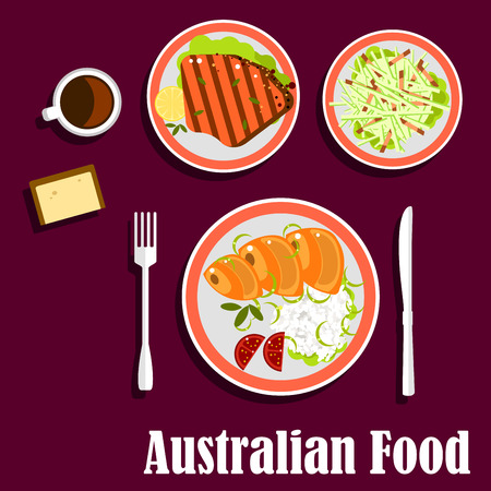 grilled salmon: National australian dishes with salmon, served with rice, fresh tomatoes and green onion, grilled lamb steak with lemon, fresh vegetables salad, wheat bread and cup of strong coffee Illustration