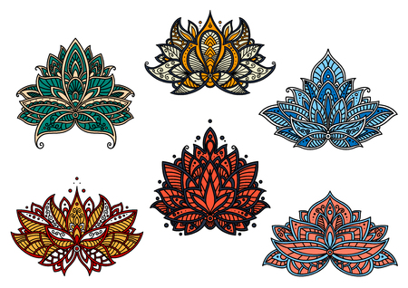 Colorful persian paisley flowers and flourishes with lush blooming kidney shaped petals with curly tips. Openwork floral design elements in red, blue, green and yellow colors