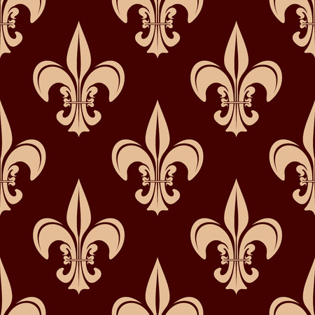 classic interior: Decorative fleur-de-lis seamless pattern for classic interior or heraldry design with victorian stylized beige floral compositions on brown background Illustration