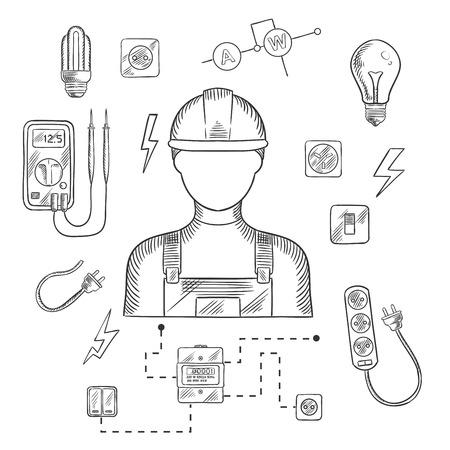 직업 또는 산업 디자인에 대한 어두운 파란색 배경에 전기 생활 용품, 전기 공구 및 장비 기호와 하드 모자 전기 남자. 벡터 스케치 그림 일러스트