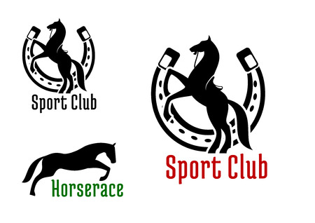 horse show: Graceful jumping and rearing horses black silhouettes with horseshoe on the background. For equestrian club or horse race sport design