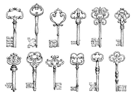 Ornamental medieval vintage keys with intricate forging, composed of fleur-de-lis elements, victorian leaf scrolls and heart shaped swirls. Old embellishment, interior accessories, tattoo or t-shirt print design usage. Vector sketch. Stock Photo