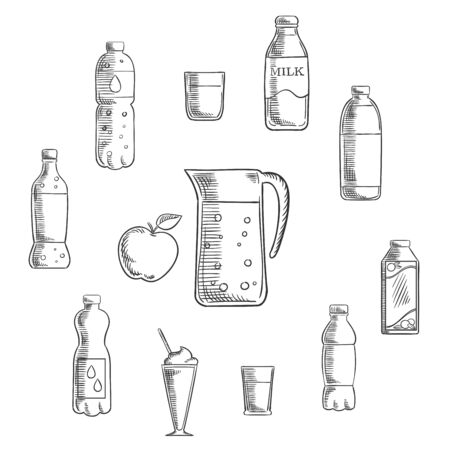 non alcoholic: Non alcoholic drinks and beverages sketches set pitcher and fresh apple encircled by bottles of water, milk, juice, cola, lemonade and glasses with cocktails. Vector sketch illustration
