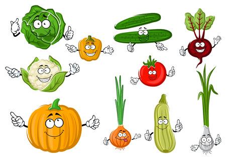 calabaza caricatura: Fresco pepino crujiente verdes y repollo, tomate rojo maduro y remolacha púrpura, naranja dulce pimiento y calabaza, calabacín jugosas y coliflor, cebolla picante y verduras cebollín personajes de dibujos animados. cosecha de la agricultura o el uso vegetariana diseño de la comida