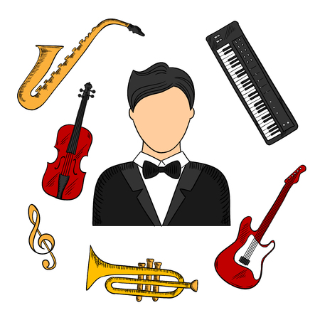 sketched icons: Musician profession and musical instruments colorful icons of man in tailcoat surrounded by electric guitar, trumpet, violin, saxophone, treble clef and synthesizer. Vector color sketched icons Illustration
