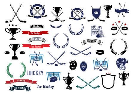 Eishockey-Sport-Spiel-Icons, Design-Elemente und Elemente mit gekreuzten Stöcken, Pucks, Tore, Torwart Masken und Schutzhelmen, Sport-Trophäe, Band-Banner, Sterne und Lorbeerkränzen. Heraldische Design-Elemente