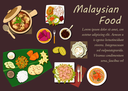 food illustration: Malaysian cuisine dishes with nasi lemak rice, prawn noodle, tofu noodle with curry, pork stew in pot with mushrooms and dried tofu, passion fruit, carambola, mango, pineapple fruits with flat bread and desserts on banana leaf Illustration