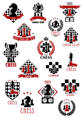 Sporting tournament emblems design for chess game with kings, queens, bishops, rook and pawns pieces on chess boards with clocks and trophy cups, decorated by ribbon banners, wreaths, stars and crown Illustration