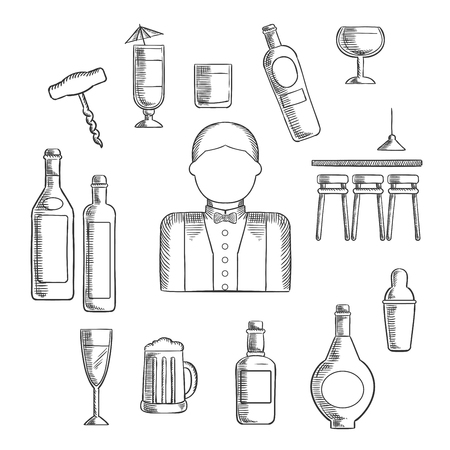 bar counter: Bartender profession with bar counter, alcohol bottles, shaker, corkscrew, cocktails, beer tankard, wine glass and male in uniform with bow tie