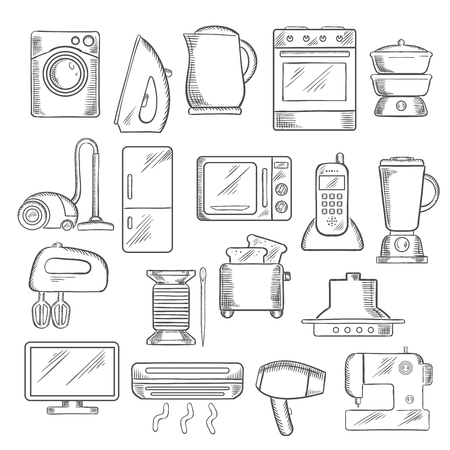 iron fan: Home appliance icons with microwave, vacuum, iron, refrigerator, toaster, tv set, washing and sewing machine, blender, mixer, fan, stove, kettle, air conditioner, telephone, steamer and cooker hood. Vector sketch style