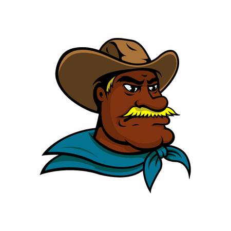 neckerchief: Angry old american cowboy cartoon character with head of mustached cowboy wearing traditional texas hat and blue neckerchief. Western adventure and wild west mascot, ranch and farming theme design