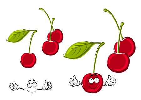 jugo de frutas: Dulces jugosas cerezas rojas de dibujos animados frutas en largos tallos verdes con las hojas. frutas divertidos para libro de recetas, postre o la cosecha agr�cola de dise�o Vectores
