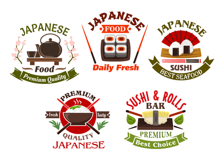 fish: Japanese seafood restaurant and sushi bar icons or symbols design with sushi rolls and sushi nigiri, with chopsticks and ceramic tea set. Ornated by ribbon banners, green tea leaves and blooming sakura Illustration