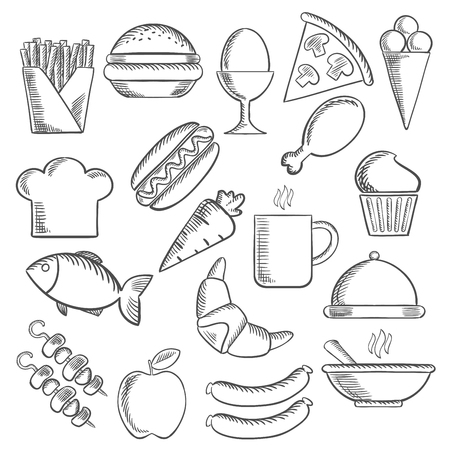 Alimentaires, des collations et des boissons esquissent icônes à pizza, saucisses, hamburgers et tasse de café, gâteau, poulet, oeuf, la crème glacée et de hot-dog, frites et pommes, poissons et la carotte, croissant et barbecue, soupe, chapeau de chef et le plateau. Vector sketch