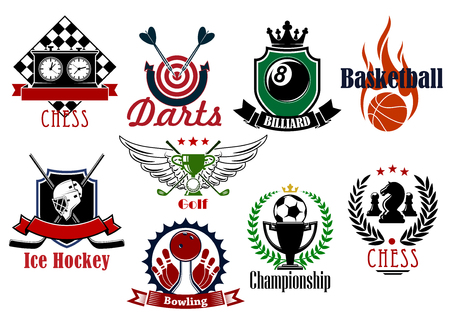 heraldic symbols: Football or soccer, basketball, ice hockey, golf, darts, bowling, chess and billiards sporting items, trophies and heraldic symbols. For sports games and teams design