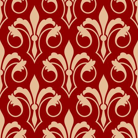 vintage ornament: Beige vintage fleur-de-lis flowers on red background. Seamless floral pattern for interior Illustration