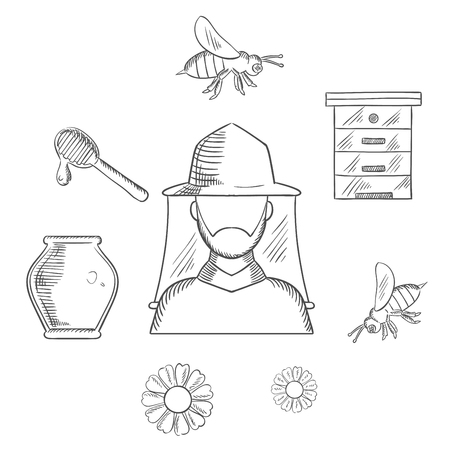 apiarist: Beekeeping and apiary sketch icons with beekeeper in hat and agriculture symbols Illustration