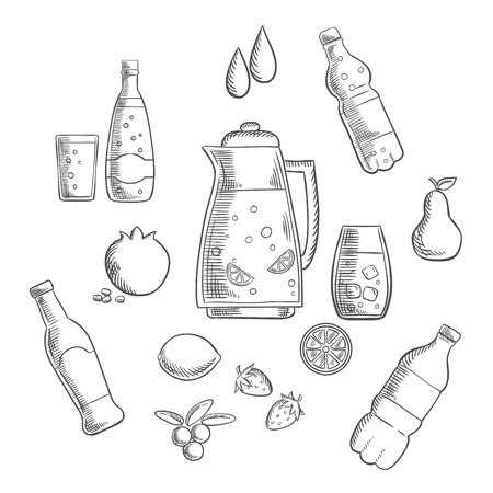 water bottles: Beverages and drinks sketches composition with juice and beer, tea and soda, cocktail and mineral water. Vector sketch Illustration