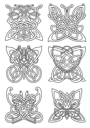 Butterfly insect tribal celtic ornaments set with swirl wings and bodies. For tattoo, print or religious art design Vector Illustration