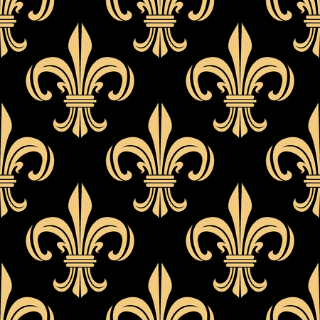 royal french lily symbols: Beige and black seamless pattern with light fleur-de-lis floral elements on dark background. For wallpaper, interior or textile design usage