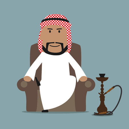 arab men: Relaxed cartoon arabian businessman in national white thobe and keffiyeh resting in a comfortable armchair with traditional oriental hookah. Relaxation or leisure theme design