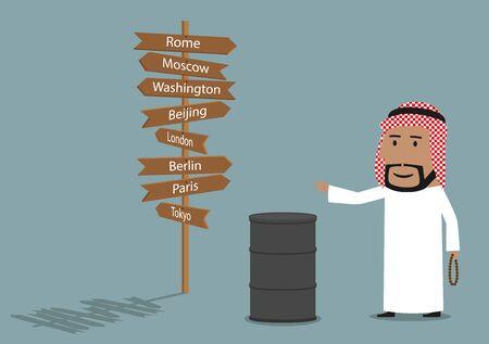 global design: Global market of oil resources, international business concept design. Illustration
