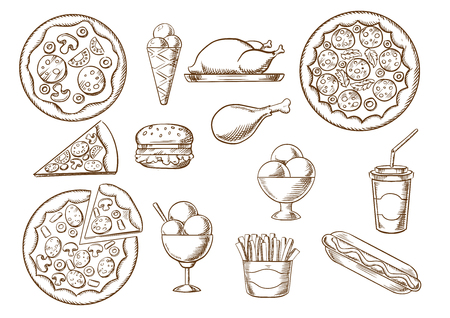 toppings: Fast food  menu sketches of pizza with different toppings