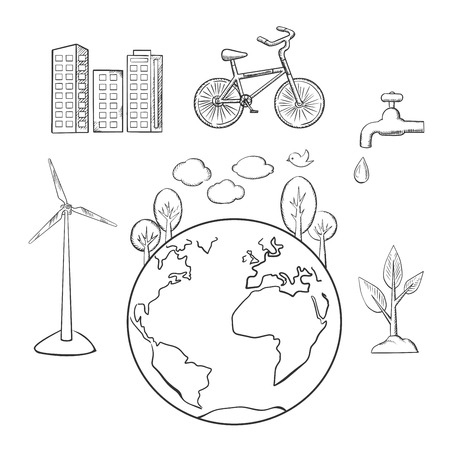 sketched icons: Eco friendly city, green energy and natural resources protection sketched icons. Environment and ecology symbols, vector sketch