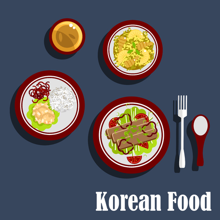 korea food: Fresh dinner of korean cuisine with grilled meat, served with tomatoes, bell peppers and herbs, fried rice with shrimps and pineapples, meatballs with red bell peppers and cup of tea