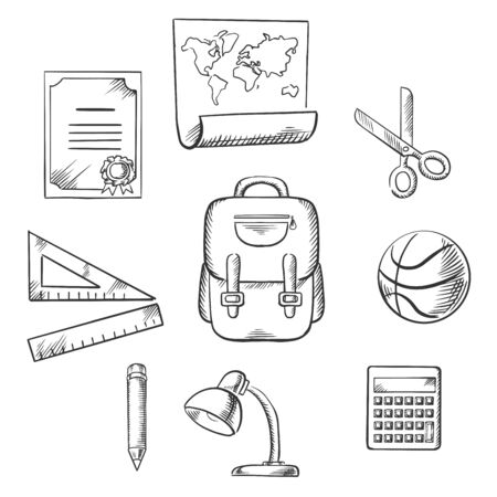 hand drawn: Hand drawn education and school infographic elements with diploma