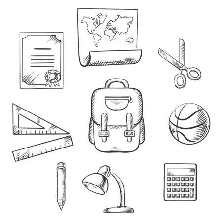 Main éducation et de l'école dessinée éléments infographiques avec diplôme