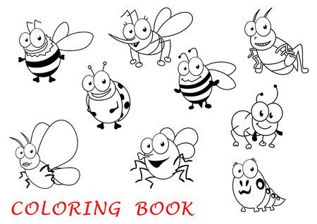 gusano caricatura: insectos de la historieta aislado en el fondo blanco con la mariquita, mosquitos y saltamontes, mariposa y la hormiga, la mosca y la abeja, la ara�a y la oruga