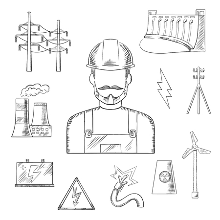 power station: Electricity and power industry icons sketches with electric stations of heat, hydro and wind energy, nuclear power plant, power lines and pylon, battery and danger warning sign with professional electrician in a helmet. Vector sketch illustration