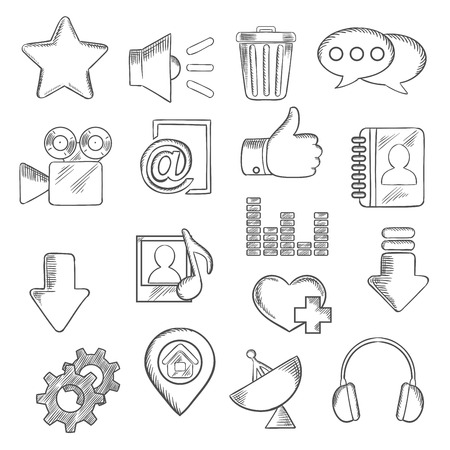 chat icons: Social media and multimedia icons with chat speech bubbles, mail, load arrows, thumb up, map pin, home page, favorite star and heart, video, contacts, playlist, equalizer, trash, gears, headphones, antenna and speaker