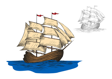 cruise ship: Old sailing ship among blue ocean waves, second variant in gray colors. Marine travel or ocean cruise design. Vector sketch