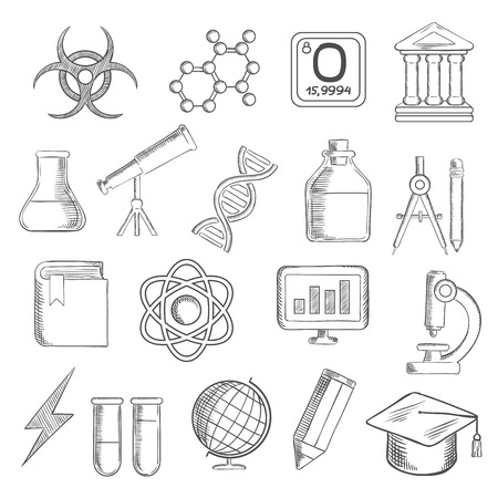 sketched icons: Science and education sketched icons with college and book, laboratory glasses and computer, microscope and globe, graduation cap and pencil, compasses and dna, atom and biohazard sign, electricity and oxygen