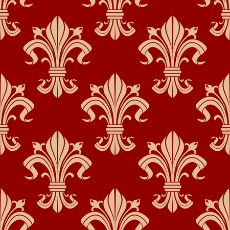 classic interior: Seamless medieval fleur-de-lis pattern for classic interior design or heraldic backdrop with beige floral compositions on red background