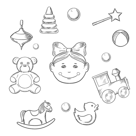 small girl: Childish icons with silhouette of a small girl head with a bow surrounded by her toys as bear, horse, duck, rattle, train, ball, pyramid and whirligig Illustration