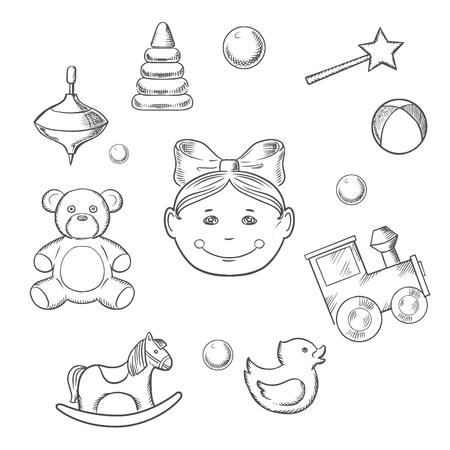 molinete: iconos infantiles con la silueta de una cabeza peque�a ni�a con un arco rodeado de sus juguetes como oso, caballo, pato, traqueteo, tren, bola, pir�mide y perinola Vectores