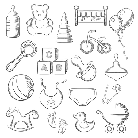 sketched icons: Baby, childish and childhood sketched icons with toys and diaper, bottle and pacifier, rattle and stroller, cubes and ball, bed and bib, bicycle and rocking horse. Vector sketch illustration