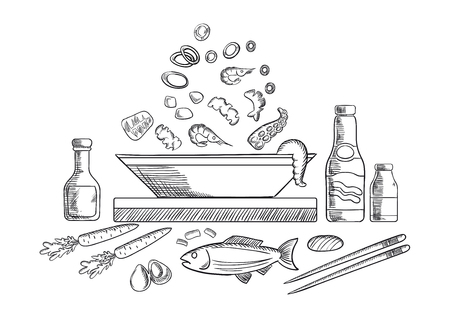 sauce dish: Seafood dish sketch with pieces of tuna, shrimps, mussels, olives and vegetables, sauce bottles, chopsticks, whole fish and bowl. Vector sketch Illustration