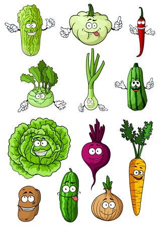 Gelukkig gezond cartoon verse groenten met kool, wortel, ui, Spaanse peper, aardappel, komkommer, bieten, courgette, groene ui, chinese kool, koolrabi en patisson tekens