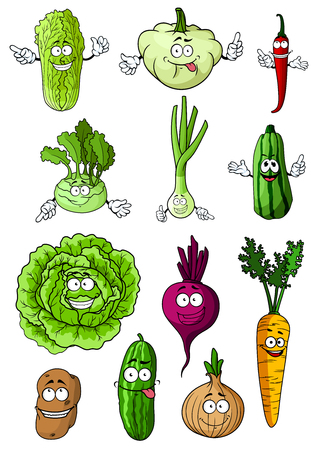 Happy healthy cartoon fresh vegetables with cabbage, carrot, onion, chilli pepper, potato, cucumber, beet, zucchini, green onion, chinese cabbage, kohlrabi and pattypan squash characters Illusztráció