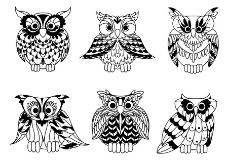 isolated: Cartoon outline owl birds set. Colorless horned owls characters isolated on white Illustration