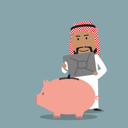 proceeds: Successful wealthy arabian businessman pouring oil from a jerry can into a piggy bank to save proceeds from the sale of crude petroleum. Financial concept of savings or investment Illustration