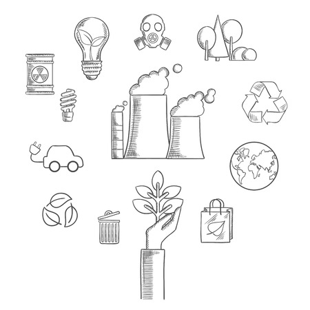sketched icons: Environment and ecological conservation sketched icons with recycling symbol, electric cars,  leaves, eco-friendly energy with a radiation symbol, gas mask and industrial chimney. Vector sketch style