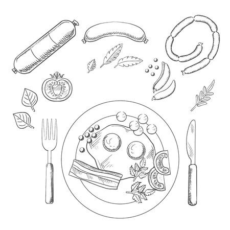 huevos fritos: Bosquejo de desayuno con huevos fritos y tocino servido en un plato con cubiertos rodeado de tiendas de comestibles y salchichas Vectores