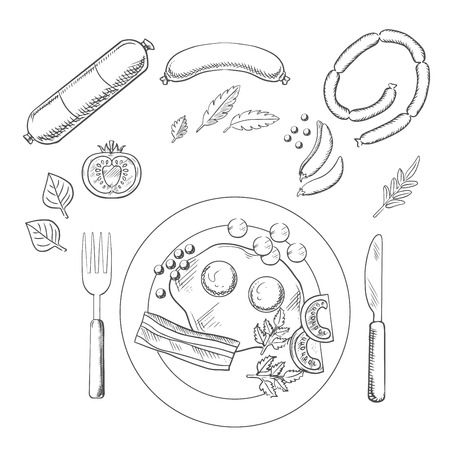 sausages: Sketch of breakfast with fried eggs and bacon served on a plate with cutlery surrounded by groceries and sausage