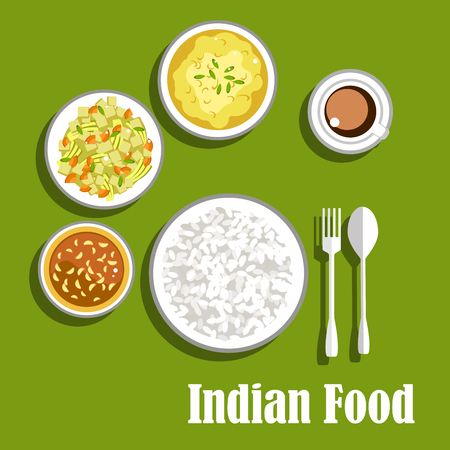 curry: Vegetarian aromatic indian dinner flat menu icon with tomato chutney with garlic, dry curry with carrots, potatoes and celery, lentil curry with herbs, served with bowl of rice, fork, spoon and cup of coffee