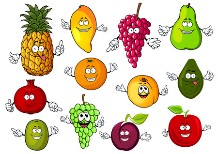 cartoon pineapple: Fresh tropical and garden fruits characters for agriculture or dessert food theme design